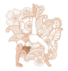 women silhouette one legged downward facing dog vector image vector image