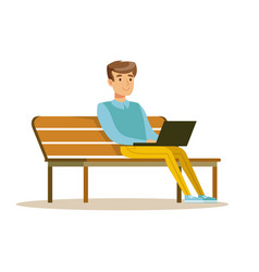 young man sitting on a bench and working with vector image vector image