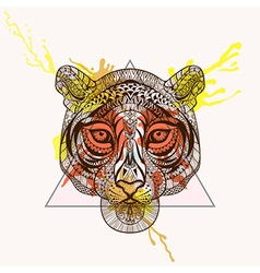 Zentangle stylized Tiger face in triangle frame vector image vector image
