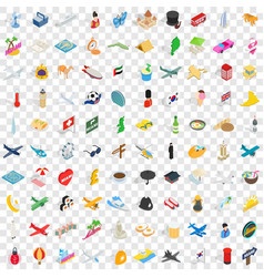 100 voyage icons set isometric 3d style vector image