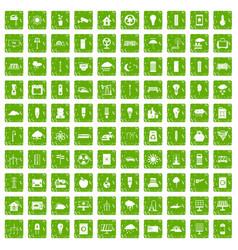 100 windmills icons set grunge green vector