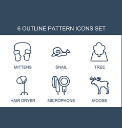6 pattern icons vector