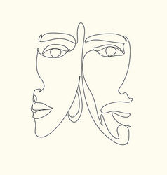 abstract man and woman touch one line drawing vector image