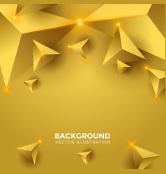 Abstract shiny gold triangle background 3d vector