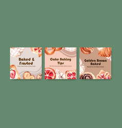 Ads template with bakery design for brochure vector