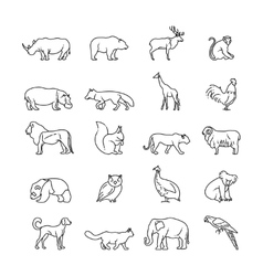 Animals thin line icons vector