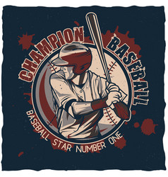 baseball t-shirt label design vector image
