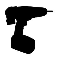 battery screwdriver drill machine silhouette vector image
