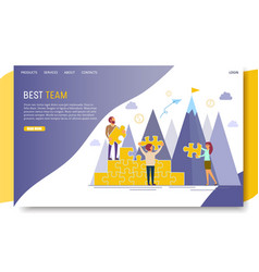 best team landing page website template vector image