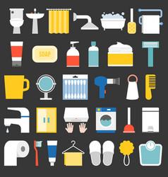 Big set bathroom item and facilities icon vector