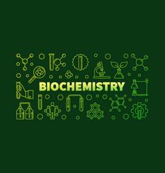 Biochemistry green outline banner or vector