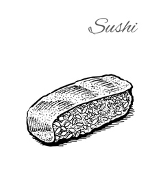 Black and white of sushi vector