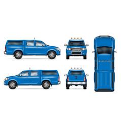 Blue pickup mockup vector