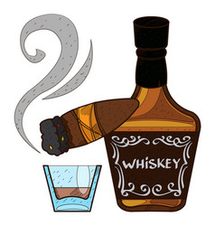 Bottle of whiskey and a cigar logo alcohol vector