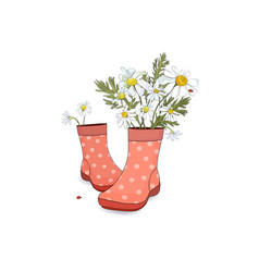 Bouquet of daisies in red boots with polka dots vector