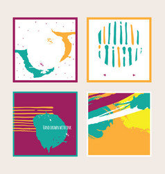 bright set with bright colored square cards vector image