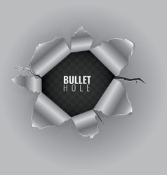 Bullet hole in hard metal material with ripped vector