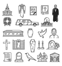 Burial and interment ceremony funeral icons vector