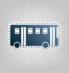 bus simple sign blue icon with outline vector image