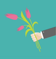 Businessman hand holding bouquet of pink tulip vector