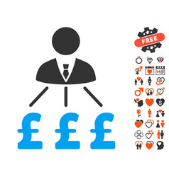 Businessman pound expenses icon with valentine vector