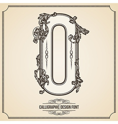 Calligraphic font number 0 vector