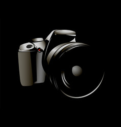camera logo white on a black background vector image