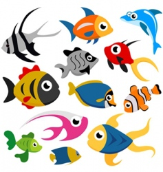 cartoon fish set vector image