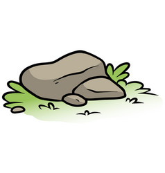 Cartoon gray stone on green grass vector