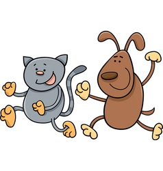 cat and dog playing tag cartoon vector image