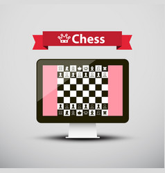 chess - strategy game on computer screen design vector image