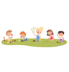 children planting eco green protection kids vector image