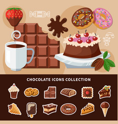 chocolate flat icons collection vector image