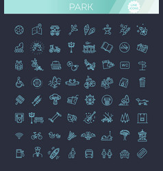 city park icons set the open plot of land for vector image