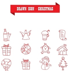 Collection of red icon Christmas vector image
