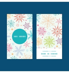 Colorful doodle snowflakes vertical round frame vector