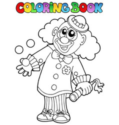 Coloring book with happy clown 8 vector