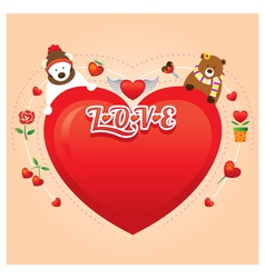 Couple Bears with Heart Shape vector image