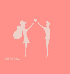 couple in love silhouette boy and girl vector image