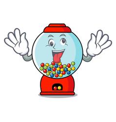 Crazy gumball machine mascot cartoon vector