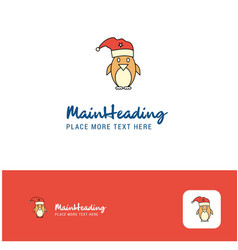 creative christmas penguin logo design flat color vector image