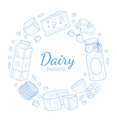 dairy products banner template natural healthy vector image