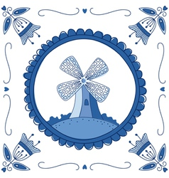 delft blue mill vector image