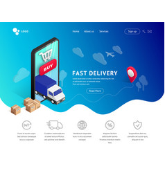 delivery landing with phone icons vector image