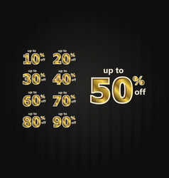 Discount up to 50 off label price gold set vector