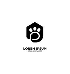 Dog pet house home logo icon line art outline vector