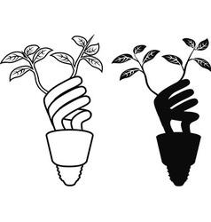 energy saving lightbulb leaf vector image