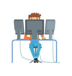 Engineer system it administrator at work vector