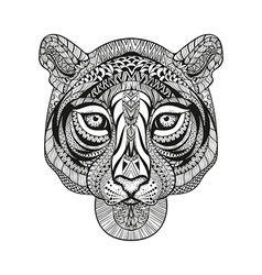 entangle stylized tiger face hand drawn doodle vector image