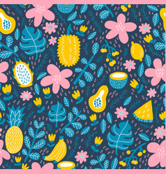 Exotic tropical fruits pattern vector